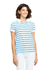 Women's Tall Print Mesh Cotton Polo Shirt Short Sleeve