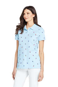 Women's Print Mesh Cotton Polo Shirt Short Sleeve