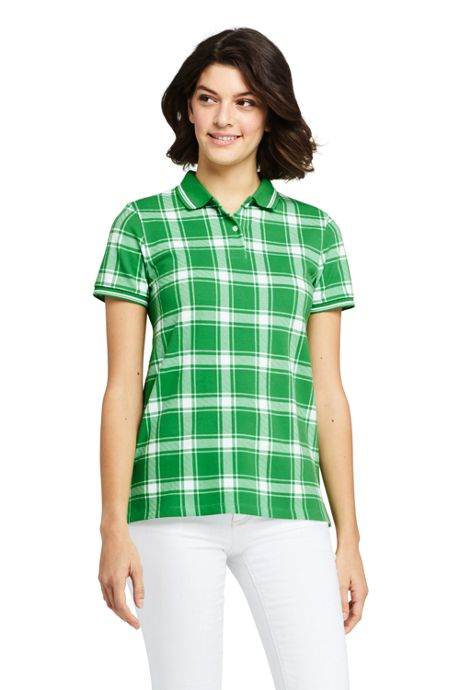Women's Petite Mesh Cotton Short Sleeve Polo Shirt Print