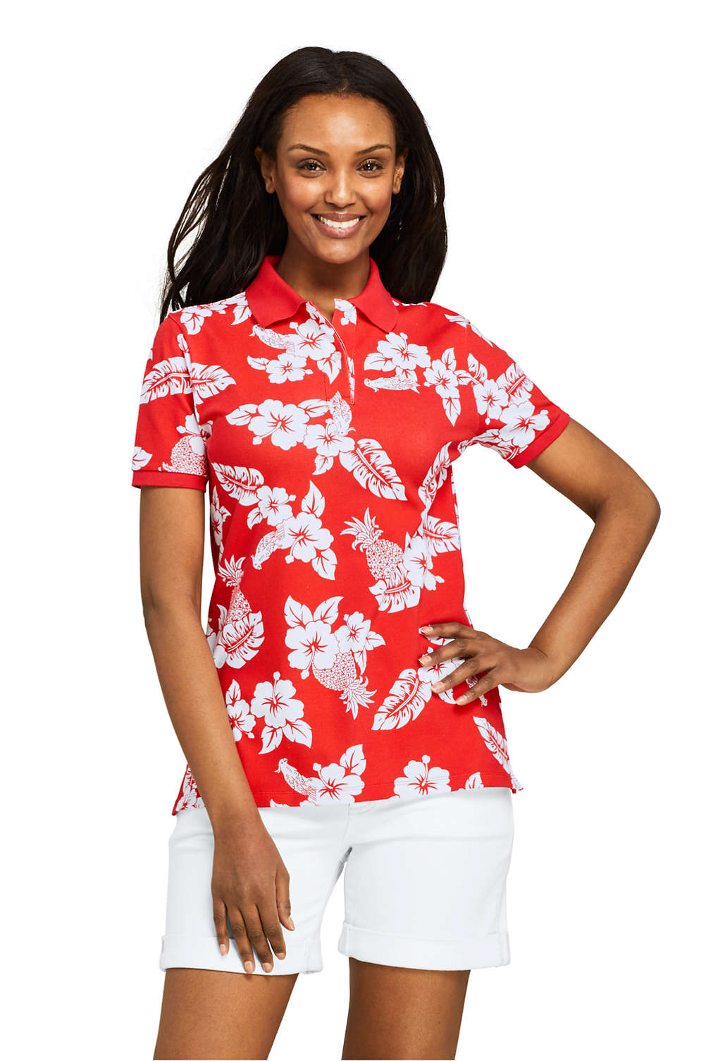 4183824c Women's Print Mesh Cotton Polo Shirt Short Sleeve from Lands' End