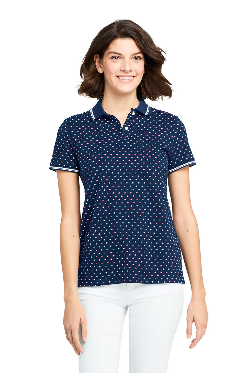Womens Print Mesh Cotton Polo Shirt Short Sleeve From Lands End