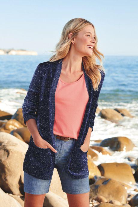 Women's Long Sleeve Confetti Open Cardigan Sweater