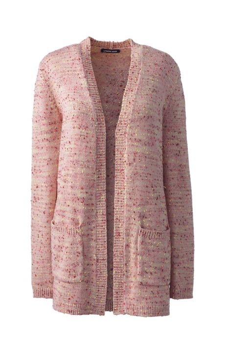 Women's Petite Long Sleeve Confetti Open Cardigan Sweater