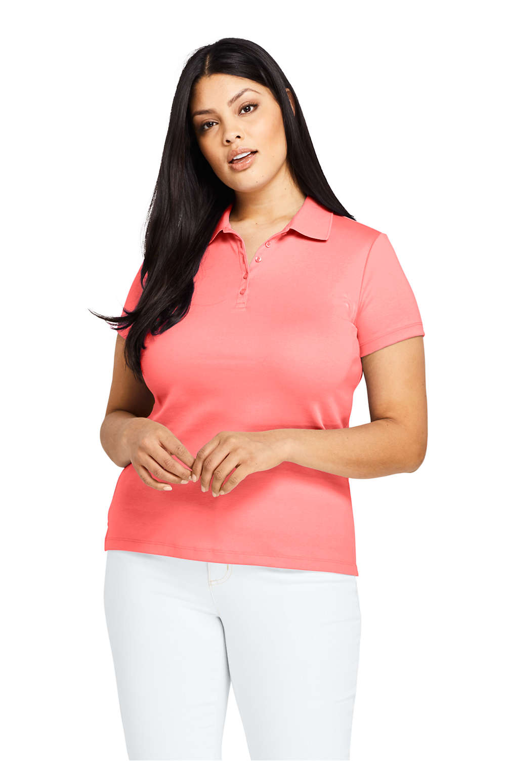 75e7a2ca67 Women s Plus Size Supima Cotton Polo Shirt Short Sleeve from Lands  End