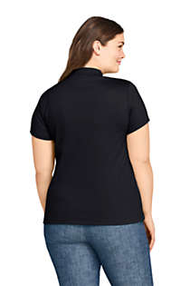 Women's Plus Size Supima Cotton Short Sleeve Polo Shirt, Back