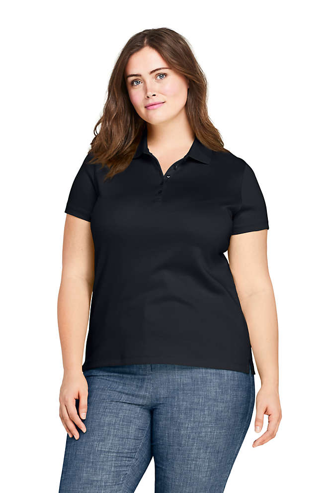 Women's Plus Size Supima Cotton Short Sleeve Polo Shirt, Front