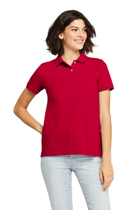 Women's Petite Mesh Cotton Short Sleeve Polo Shirt