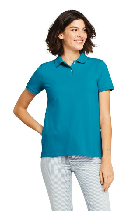 Women's Tall Mesh Cotton Polo Shirt Short Sleeve