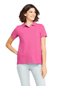 Women's Petite Mesh Cotton Polo Shirt Short Sleeve