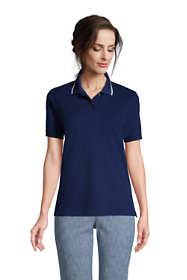 Women's Petite Mesh Cotton Short Sleeve Polo Shirt
