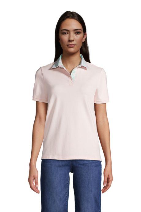Women's Tall Mesh Cotton Short Sleeve Polo Shirt