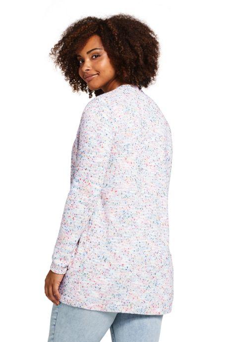 Women's Plus Size Long Sleeve Confetti Open Cardigan Sweater