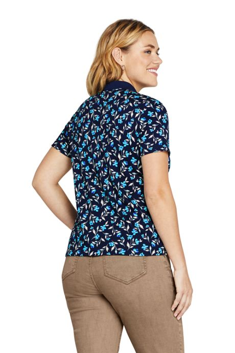 Women's Plus Size Supima Cotton Short Sleeve Polo Shirt Print