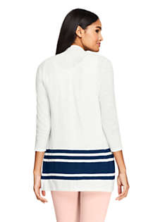 Women's Petite Slub 3/4 Sleeve Raglan Open Cardigan Sweater, Back