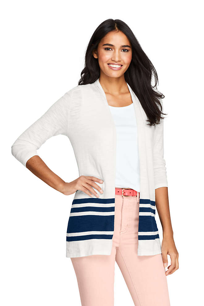 Women's Slub 3/4 Sleeve Raglan Open Cardigan Sweater, Front