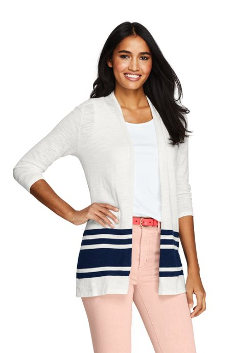 Women's Slub 3/4 Sleeve Raglan Open Cardigan Sweater