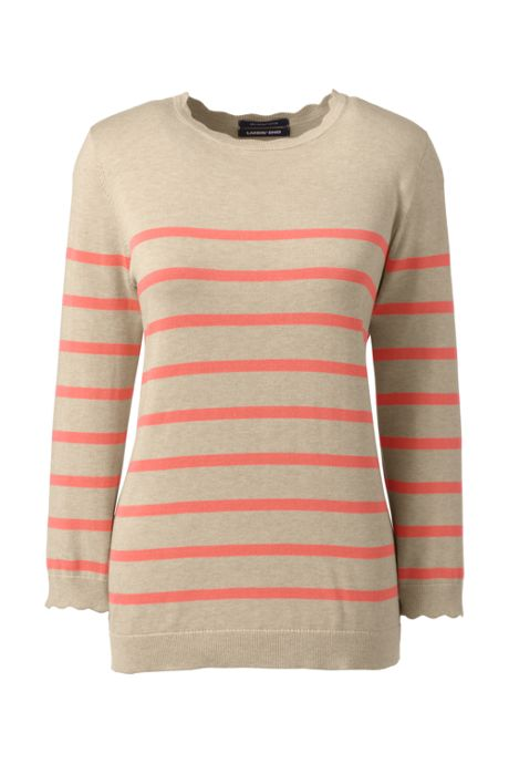 Women's 3/4 Sleeve Supima Cotton Sweater - Stripe