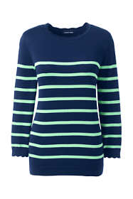 Women's Plus Size 3/4 Sleeve Supima Cotton Sweater - Stripe