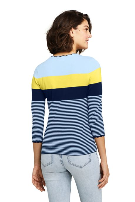 Women's Tall 3/4 Sleeve Supima Cotton Sweater - Stripe