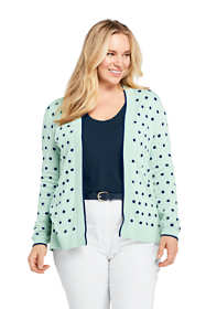 Women's Plus Size Long Sleeve Open Supima Cardigan Sweater