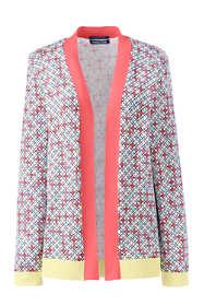 Women's Plus Size Long Sleeve Print Open Supima Cardigan Sweater