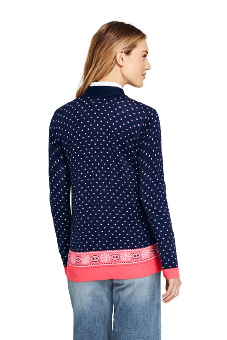 Women's Petite Long Sleeve Print Open Supima Cardigan Sweater