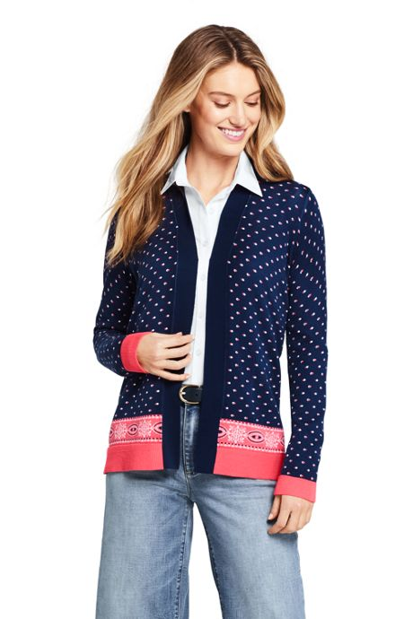 Women's Long Sleeve Print Open Supima Cardigan Sweater