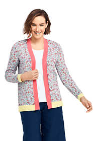 Women's Tall Long Sleeve Print Open Supima Cardigan Sweater
