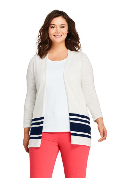 Women's Plus Size Slub 3/4 Sleeve Raglan Open Cardigan Sweater