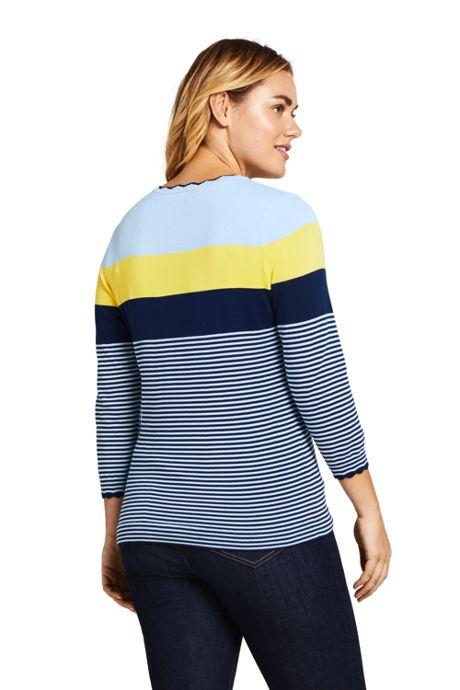 Women's Plus Size 3/4 Sleeve Supima Cotton Sweater - Stripe