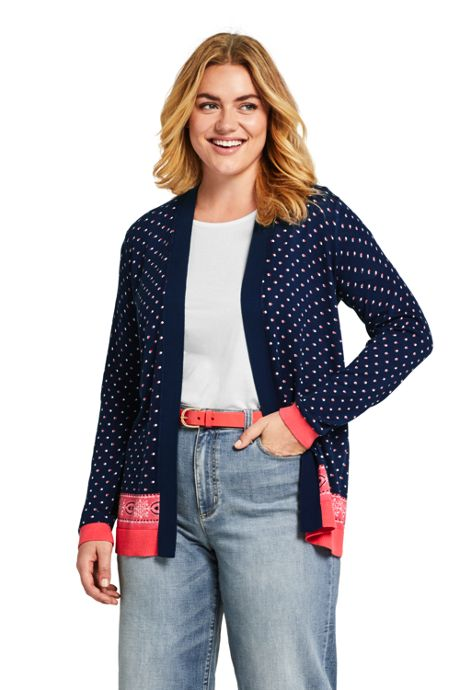 Women's Plus Size Long Sleeve Print Open Supima Cardigan Sweater