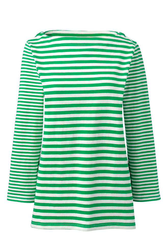 Women's Cotton 3/4 Sleeve Boatneck Top Stripe, Front