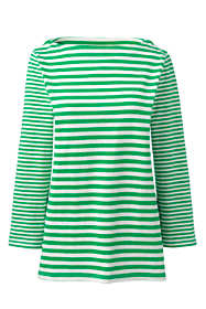 Women's Plus Size Cotton 3/4 Sleeve Boatneck Top Stripe
