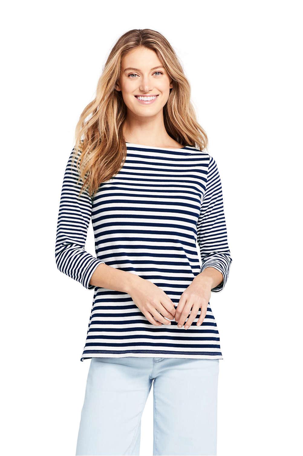 9184d14bd6 Women's 3/4 Sleeve Stripe Boatneck Top from Lands' End