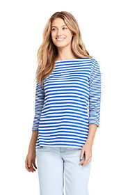Women's Cotton 3/4 Sleeve Boatneck Top Stripe