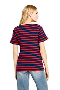 Women's Short Sleeve Ruffle Boatneck Top, Back
