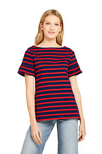 Women's Short Sleeve Ruffle Boatneck Top, Front