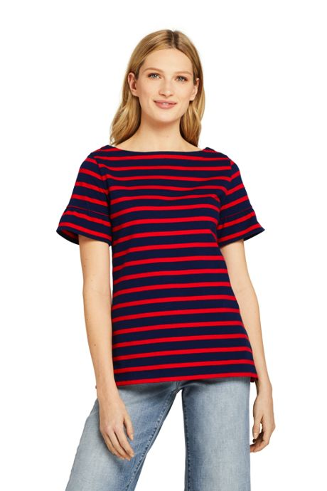 Women's Petite Short Sleeve Ruffle Boatneck Top