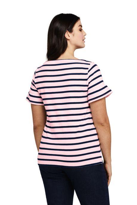Women's Plus Size Short Sleeve Ruffle Boatneck Top
