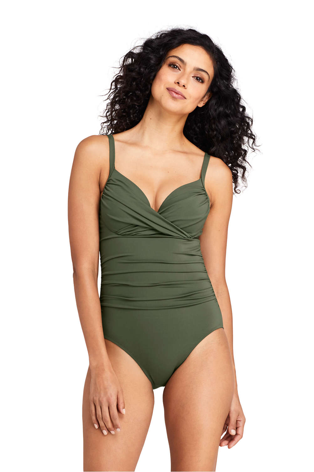 8e3d6a77f582a Women's Perfect Draped Underwire One Piece Swimsuit with Tummy Control from  Lands' End