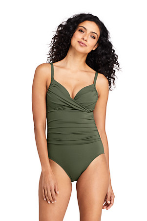 2c0bb9ad64 Women's Wrap Sweetheart Neck Perfect Swimsuit   Lands' End