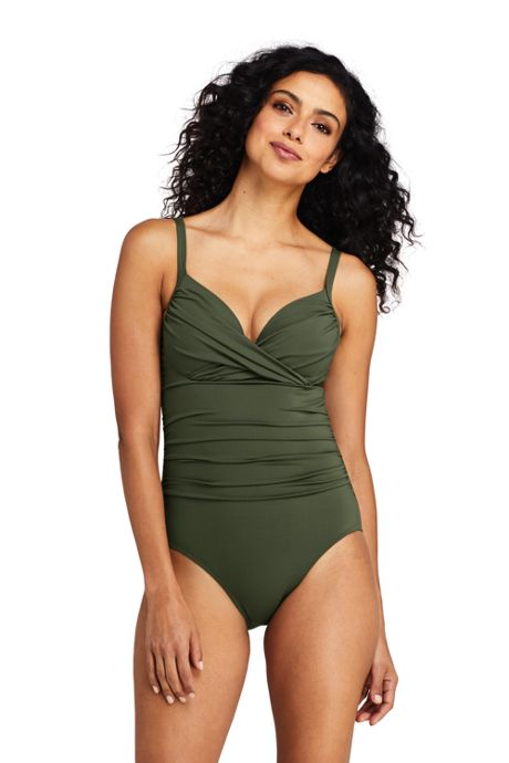 Women's Perfect Draped Underwire One Piece Swimsuit with Tummy Control