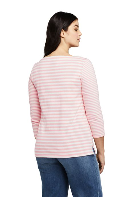 Women's Plus Size 3/4 Sleeve Stripe Boatneck Top