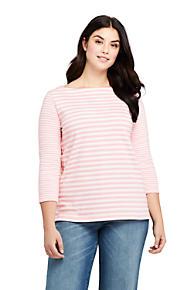 5c9c281b6b4 Women s Plus Size 3 4 Sleeve Stripe Boatneck Top