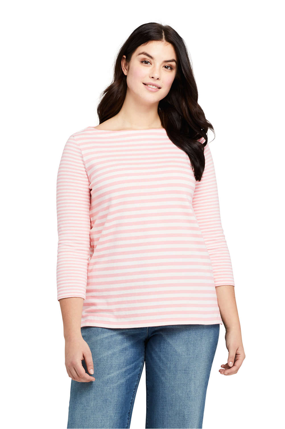 ce1919a47eb Women s Plus Size 3 4 Sleeve Stripe Boatneck Top from Lands  End