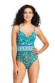 Women's Long Perfect Underwire Draped One Piece Swimsuit with Tummy Control Print