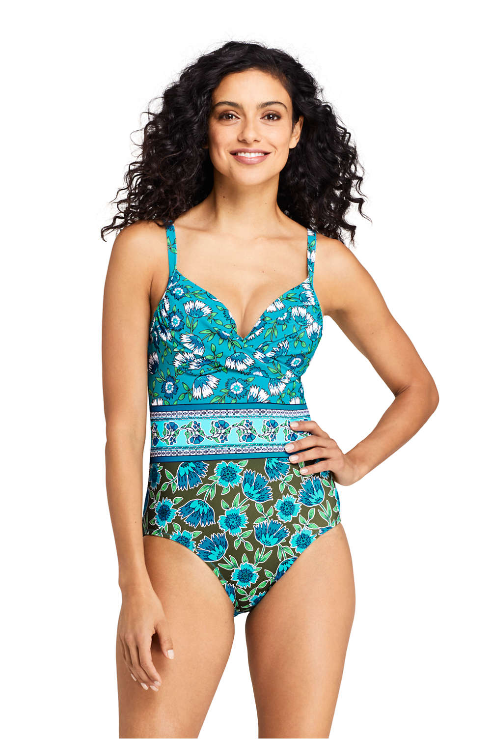 318f252fd20 Women's Perfect Draped Underwire One Piece Swimsuit with Tummy Control Print