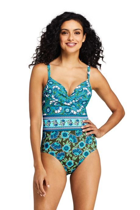 Women's Perfect Draped Underwire One Piece Swimsuit with Tummy Control Print