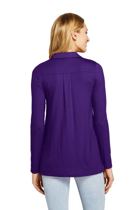 Women's Petite Long Sleeve Button Down Tunic