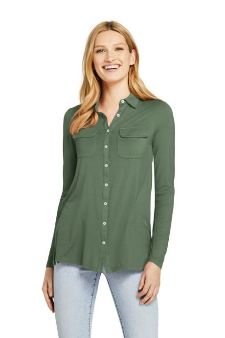 Women's Tall Long Sleeve Button Down Tunic
